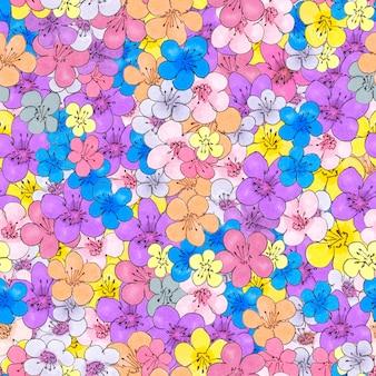 Крошечные цветы бесшовные модели. дизайн ткани и оберточной бумаги.