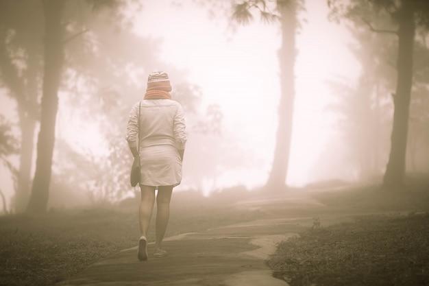 Одна женщина гуляет в туманном лесу с туманом