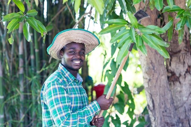 木の緑の葉を切るナイフを保持しているアフリカの農夫男