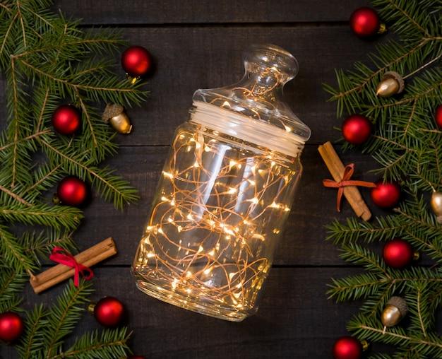 クリスマスライト付きガラス瓶