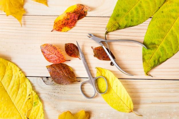 Маникюрные инструменты с осенними листьями