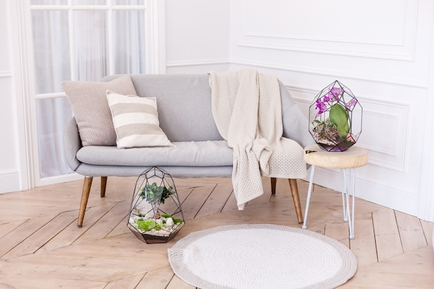 Интерьер с флорариумами, формы из стекла для интерьера с растениями, камни
