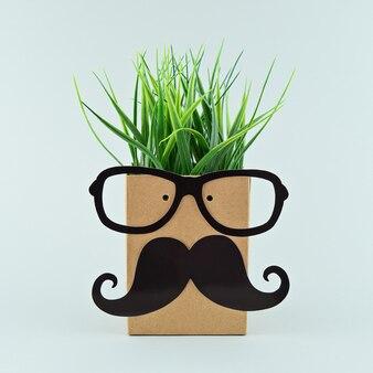 眼鏡とひげ剃り紙袋の面白い顔