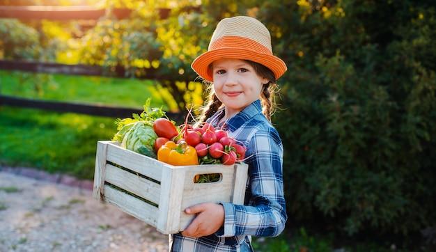 夕暮れ時の家の庭で新鮮な有機野菜のバスケットを持って小さな女の子を子供します。健康的な家族のライフスタイル。秋の収穫時期。子供の農夫。