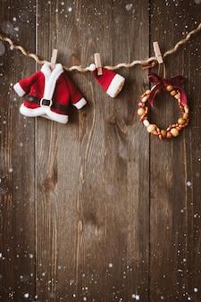 装飾とクリスマスの木の背景