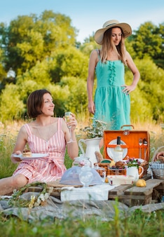 夏のピクニックにガールフレンドの女の子女性