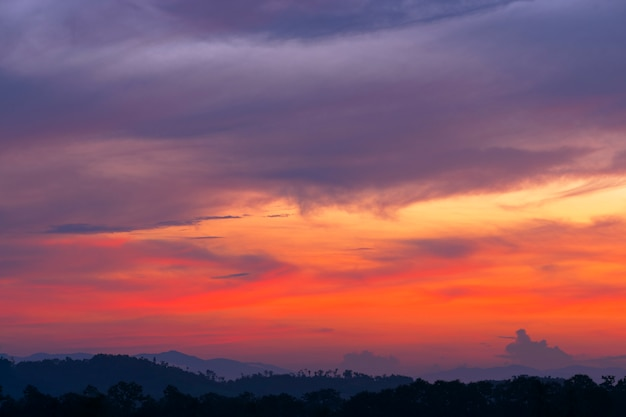 豪華な夕暮れの空と朝の雲の背景画像