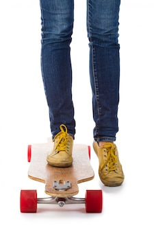 スケートボーダーの足
