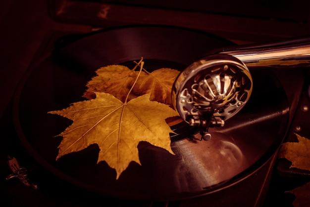 古い埃っぽい蓄音機が秋にビニールレコードを演奏