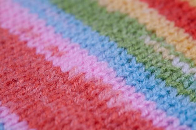 Полосатая ткань вязаной ткани текстуры. абстрактный крупным планом линии шаблон фона
