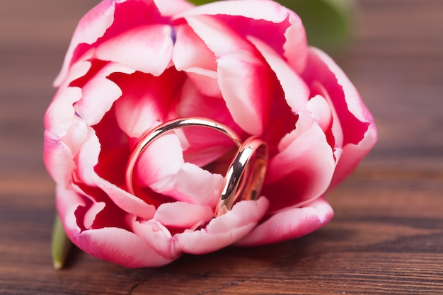 繊細なピンクのチューリップと結婚指輪。バレンタイン・デー。結婚式、婚約