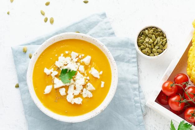 フェタチーズとカボチャのクリームスープ