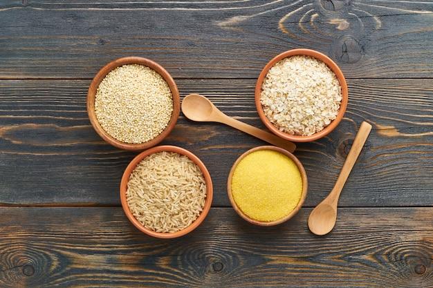 Набор круп для безглютеновой диеты, длинные углеводы, коричневый рис, кукуруза, киноа, овес