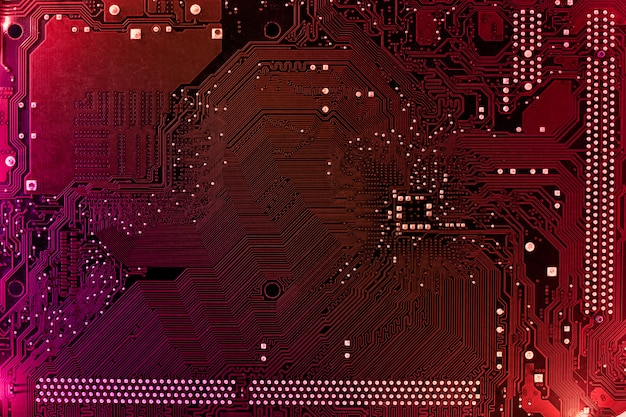 Материнская плата компьютера с размытым неоновым многоцветным свечением, фон пк