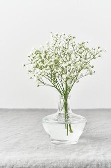 ガラス花瓶のカスミソウの花。柔らかな光、スカンジナビアのミニマリズム