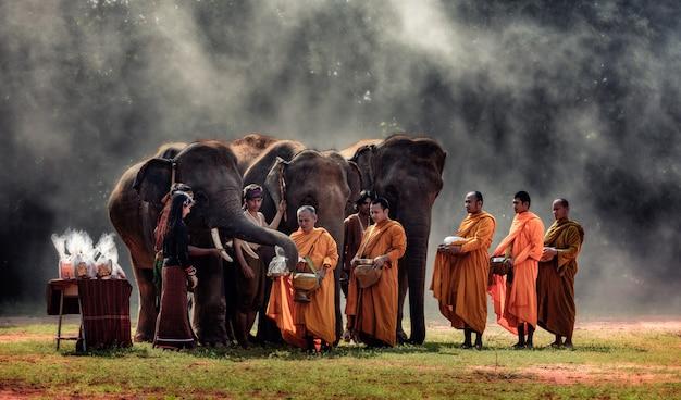 女性はタイの田園地帯、スリン県の仏教の僧侶に食物を贈る