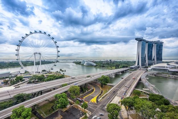 シンガポールのシンガポールシティスカイラインの鳥瞰図。