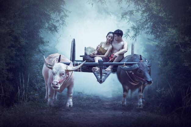 カップルのタイの農家家族の幸福の時間農家のカップルのバッファローヨーク