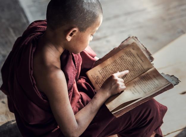 ミャンマーの修道院での若い仏教初心者僧侶の読書と研究