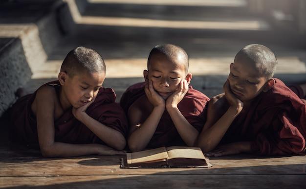 Начинающий монах читает книгу, в монастыре, баган, мьянма