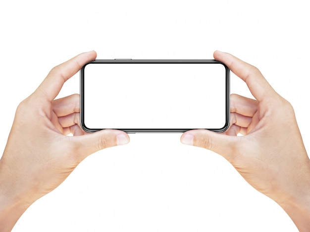 Рука смартфон с пустым экраном