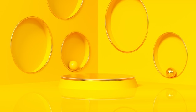 Минимальная студия с круглым постаментом на желтом фоне