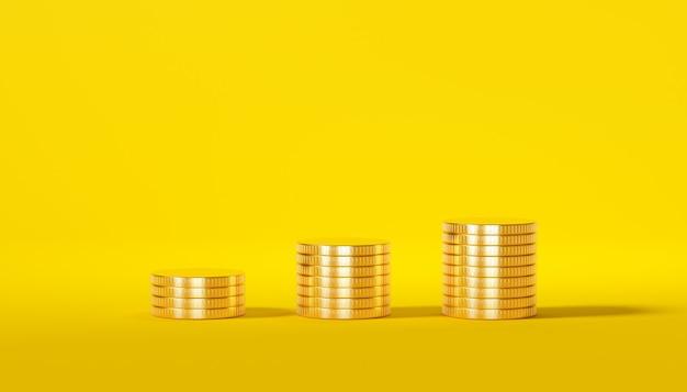 黄色の背景に分離された黄金のコインのスタック
