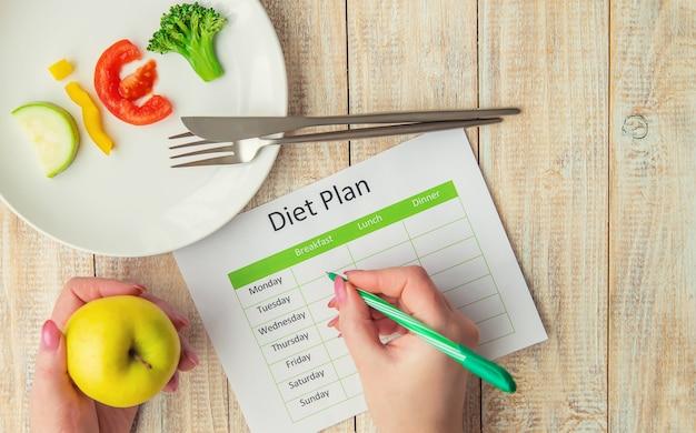 Еженедельный план диеты. концепция правильного питания.