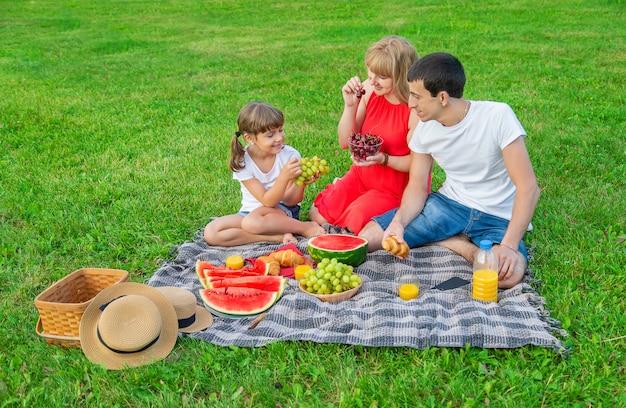 彼女の家族と一緒にピクニックに妊娠中の女性