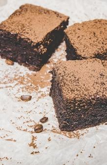 チョコレートブラウニー。自家製焼きます。セレクティブフォーカス