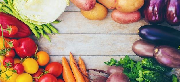 さまざまなバイオ野菜。セレクティブフォーカスバイオ食品。