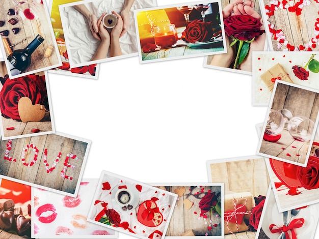 Коллаж из любви и романтики. выборочный фокус.