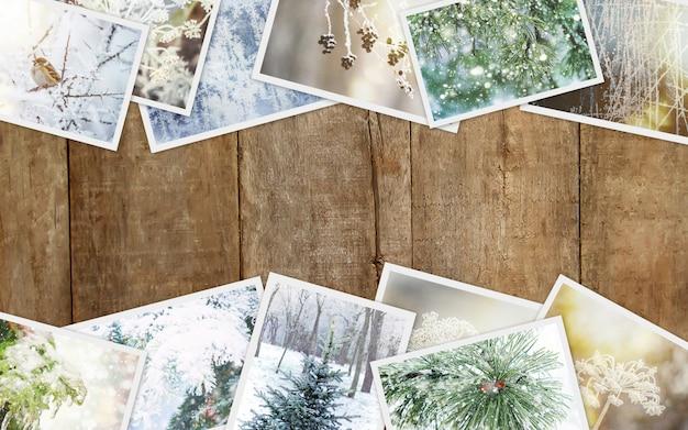 冬の写真のコラージュ。セレクティブフォーカス自然の冬