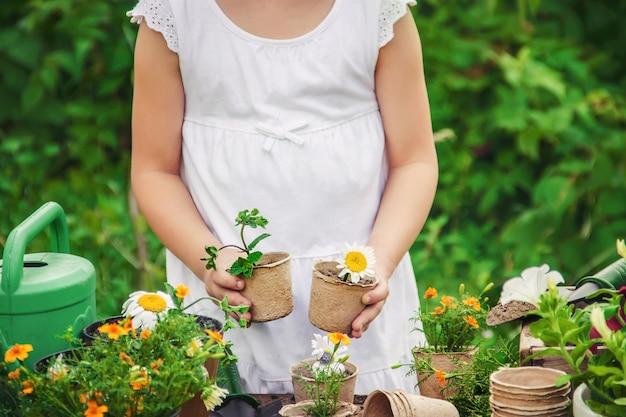 小さな女の子が花を植えています。若い庭師セレクティブフォーカス