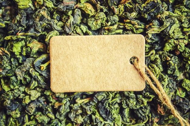 緑茶とタグ。セレクティブフォーカスフード。