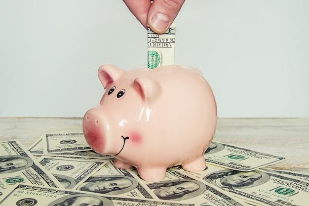 Копилка и доллары. выборочный фокус.