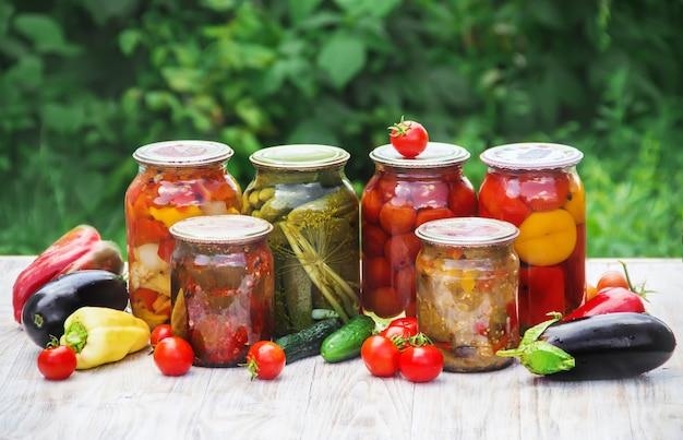 Консервация овощей. пробелы. выборочный фокус природы