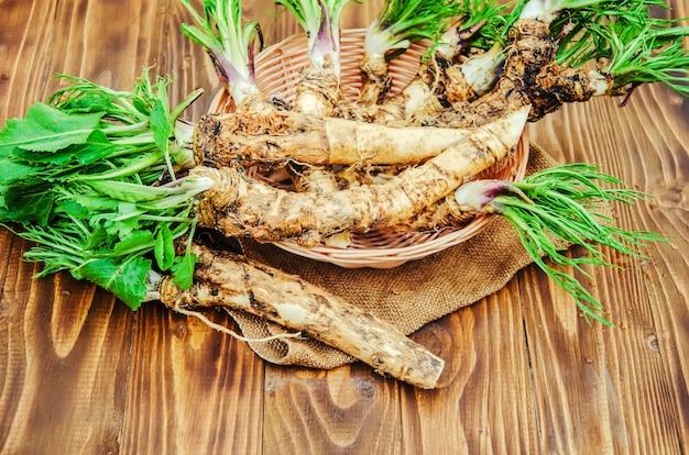 木製の背景に若いわさびの根。