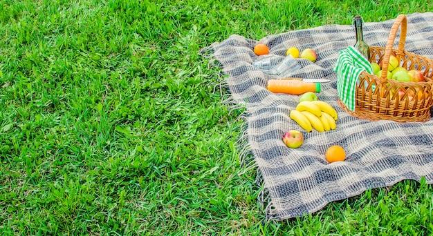 Плед для пикника на траве. выборочный фокус.