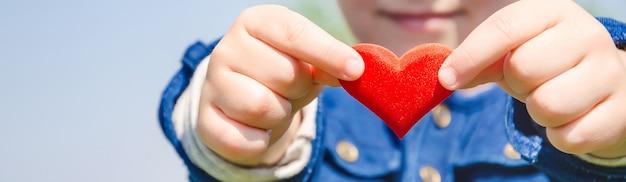 心は子供の手の中にあります。セレクティブフォーカス