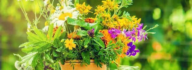 乳鉢の中のハーブ。薬用植物。写真。