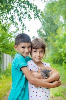 Маленькие котята в руках детей