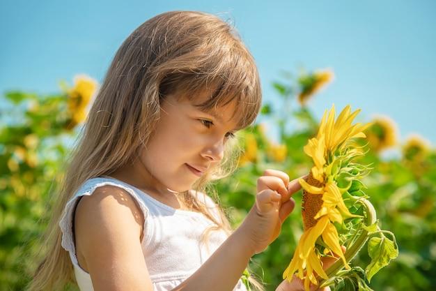 ひまわり畑の子供。