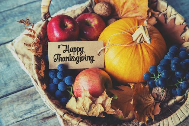 カボチャと秋の背景。感謝祭。