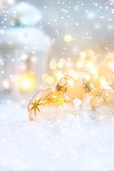 メリークリスマスと新年あけましておめでとうございます、休日のグリーティングカードの背景。