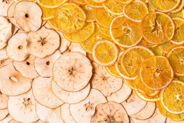 乾燥リンゴとオレンジフルーツチップ
