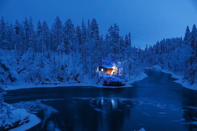 Зимний пейзаж с небольшим озером в зимнем лесу, тонированное в классическом синем цвете.