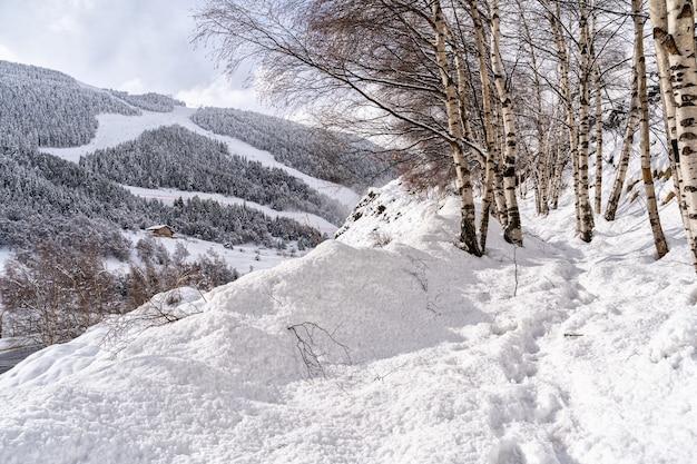 Пейзаж с пиренейскими горами в андорре, горнолыжный курорт грандвалира в эль-тартере один зимний день.