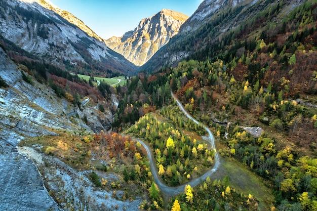 スイスの高山の山の風景と渓谷。