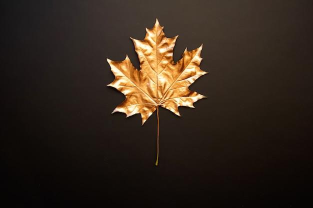 黒い背景に黄金のカエデの葉
